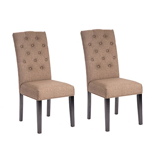 Set of 2 Coffee Fabric Contemporary Elegant Design Dining Chairs Home Room (Coffee)