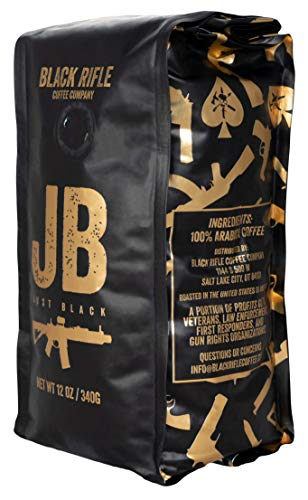 Black Rifle Coffee Company Just Black Coffee, Dark Roast, Whole Bean, 12 Ounce Bag