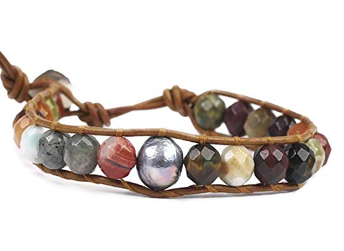 Chan Luu Multi Color Mineral Stone and Grey Simulated Pearl Beaded Mix Silvertone Single Wrap Bracelet Style