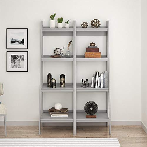 Ameriwood Home Lawrence 4 Shelf Ladder Bookcase Bundle, Dove - Rolling Ladder Gray