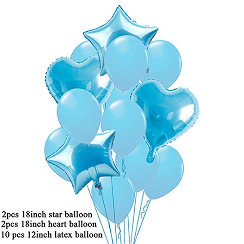 14Pcs 12Inch Star Gold Happy Children'S Birthday Balloons Wedding Foil Balloons Figures Round Ballons Accessories Balon Blue -