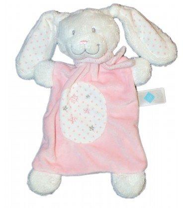 Peluche plano de conejo rosa y blanco, Estrellas, Tex Baby Carrefour