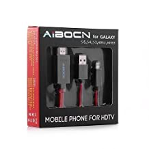 Aibocn 6.5 Feet 11 Pin Micro USB to HDMI Adapter Cable 1080P HDTV for Samsung Galaxy S5, S4, S3, Note 3, Note 2, Galaxy Tab 3 8.0, Tab 3 10.1, Tab Pro, Galaxy Note 8, Note Pro 12.2(NOT for Tab 3 7.0, Note 10.1, Note 3 N9008V) by Aibocn