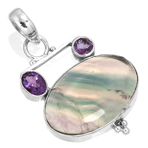 5mm Round Multi Stone Pendant - Natural Multi Fluorite Gemstone Stylish Jewelry Solid 925 Sterling Silver Pendant