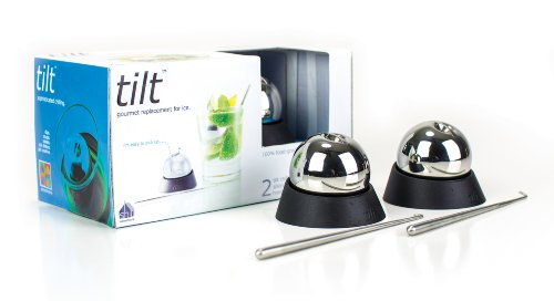 soireehome Tilt: A Pair of Chilling Balls For the Perfect Temperature Beverage Without Ice - Keep Drinks Cold With Stainless Steel Chillers - Comes With Hook/Garnishing Stick & 2 Silicone Bases