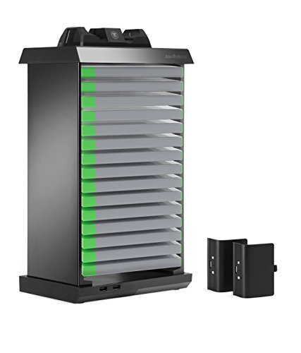 Snakebyte XBOX One Charge Tower Pro - Twin Docking Station with Games Tower for 15 Games, Charger and Battery Packs for 2 Controllers and 2 USB Ports / Gamepad for XBOX One USB Charging Station