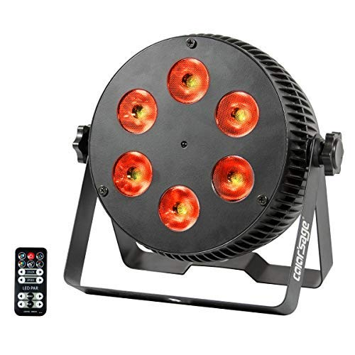 COLOR'SAGE Par lights, 6 Leds RGBWA+UV Disco DJ Stage Light Sound Activated DMX Controller Laser Lighting Uplighting with Remote for Birthday Wedding Xmas Halloween Party Music Show(RGBWA+UV 6 Led)