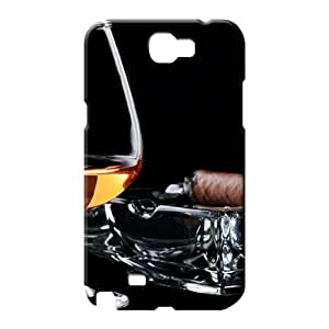 samsung note 2 Brand Shockproof High Grade phone cover case Brandy Glass And Cigar On Ashtray