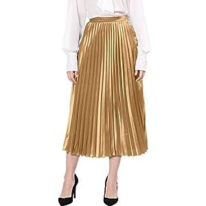 Allegra K Women's Zip Closure Party Accordion Midi Metallic Pleated Skirt