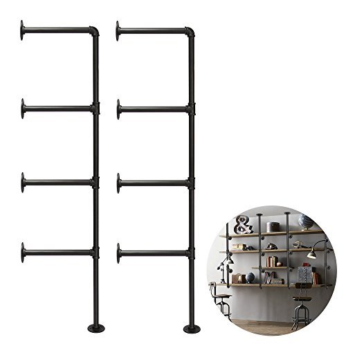 3S 4-Tiers Rustic Urban Style Metal Wall Mounted Iron Pipe Ledge Shelf, Bracket Pipe Wall Shelf DIY Storage Organizer (2 pcs),Black by 3s