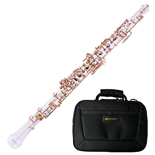 - ROFFEE Professional Performance Level Crystal Transparent Body Semi Automatic Rose Gold Plated Oboe