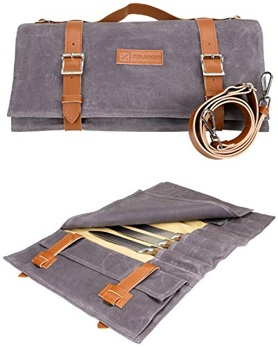Zelancio Waxed Canvas Knife Roll Bag with 9 Knife Slots and...