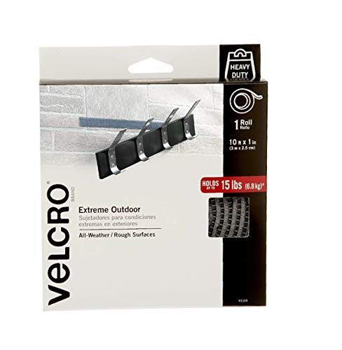 VELCRO Brand Industrial Strength Fasteners | Extreme Outdoor Weather Conditions | Professional Grade Heavy Duty Strength Holds up to 15 lbs on Rough Surfaces | 10 ft x 1 inch Tape, Titanium from VELCRO Brand