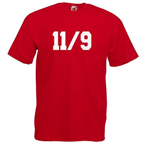 11/9 Fun T-Shirt Rot / Druck Weiß