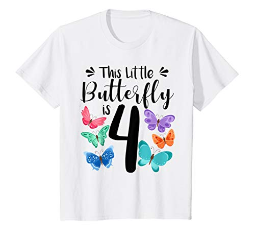 Kids 4 Year Old Butterfly Birthday T Shirt Girls 4th Party Gift