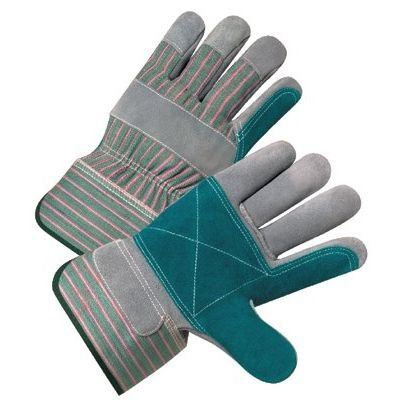West Chester 500DP Green/Pink XL Split Cowhide Leather Work Gloves - Wing Thumb - 10.38 in Length - 500DP/XL [PRICE is per DOZEN]