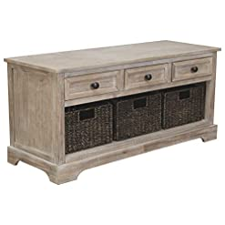 Entryway Signature Design by Ashley Oslember Farmhouse Storage Bench with Drawers and 3 Removable Baskets, Brown