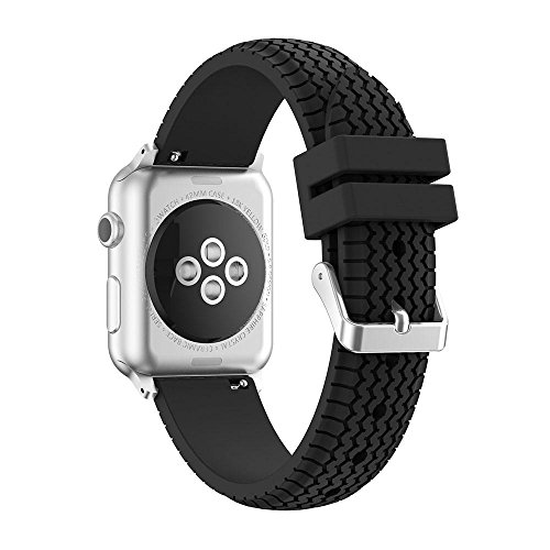 Price comparison product image 38mm/42mm Watch Band for Apple Watch, Kobwa Premium Soft Silicone Silica Gel Wheel Tires Tread Strap Wrist Band Replacement with Stainless Metal Clasp for Apple Watch Series 1 Series 2 All Models