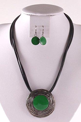 fashion-Parure de Collier et Boucles d'oreille design 13240 Vert