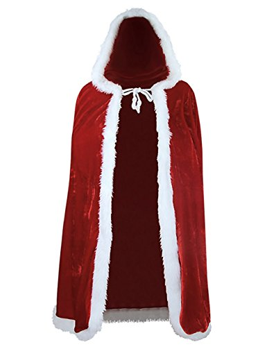 Santa Claus Cape (Zuozee Mrs Santa Claus Costume,Santa Cape Xmas Costumes,Velvet Hooded Cloak Robe Christmas Women)