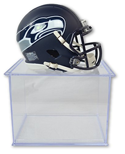 Official National Football League Fan Shop Authentic NFL Mini Speed Helmet and Display Case Bundle. Great Sports Fan Collectible - Office, Home or Man Cave (Seattle Seahawks)