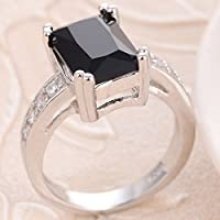 jindarat Charming Women 925 Silver Black Onyx Ring WeddingEngagement Jewelry Size 5-12 (8)