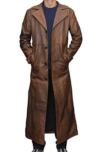 Decrum Mens Classic Batman Long Trench Leather Coat 2XL (Leather Trench Mens Long Coat)