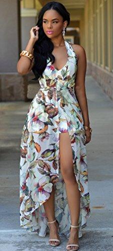 0aca27f62a7 Kearia Women Summer Sexy V Neck Halter Floral Maxi Skirt Overlay ...