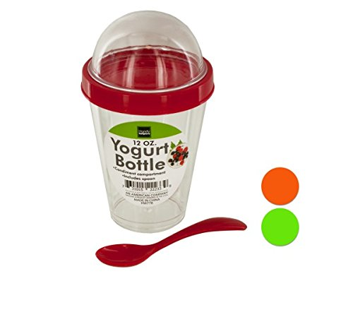 Kole HW778 Yogurt Cup with Topping Compartment and Spoon, Regular