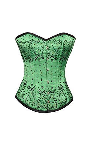 集団メルボルン呼ぶGreen Satin Black Sequins Gothic Burlesque Bustier Waist Cincher Overbust Corset