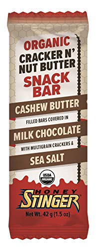 Honey Stinger Organic Cracker N' Nut Butter Snack Bars, Milk Chocolate Cashew Butter, 1.5 Ounce (12 Count)