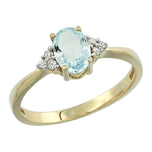 7x5mm Genuine Aquamarine Ring - 4