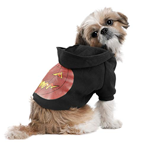 oneisall Dog Pumpkin Hoodie Sweater Pet Puppy Shirts Costume Clothes Apparel for Halloween Christmas Holiday Festival Party,Black,XL -