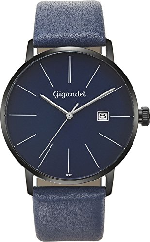 Gigandet Men's Quartz Watch Minimalism Analog Leather Strap Black Blue G42-0010