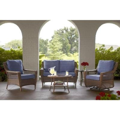 Spring Haven Brown 5-Piece All-Weather Wicker Patio Seating Set with Sky Blue Cushions (Bay Hampton Patio Set Cushions)