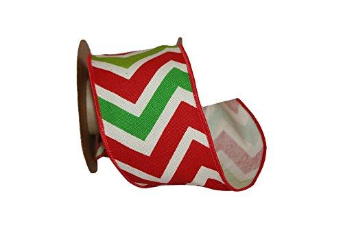 Reliant Ribbon Holiday Chevron We Fabric Ribbons, 2.5