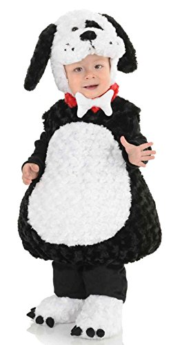 [Underwraps Costumes Toddler Baby's Puppy Costume - Belly Babies Furry Puppy Costume, Black/White, Medium] (Black And White Puppy Toddler Child Costumes)