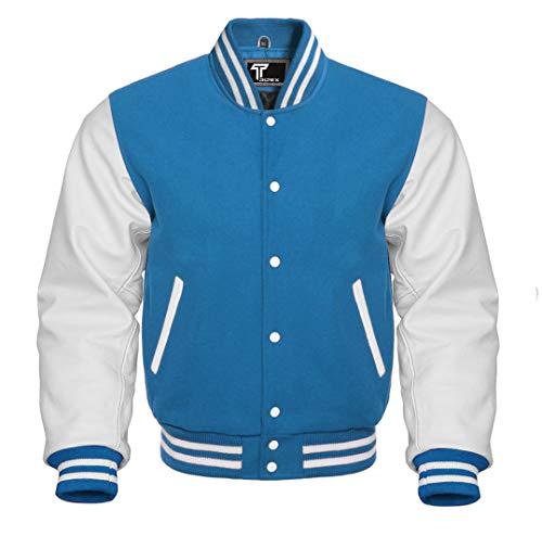 Premium Letterman Baseball School College Bomber Varsity Jacket Wool Blend & Genuine Leather Sleeves (Sky Blue/White, Medium)