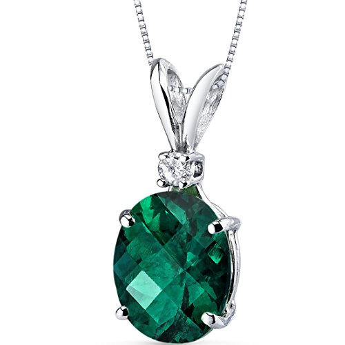 14 Karat White Gold Oval Shape 2.50 Carats Created Emerald Diamond Pendant - Sterling 10 X 8 Emerald