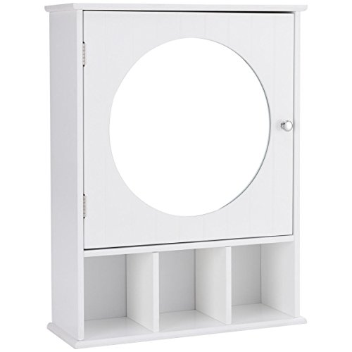 White Wall Mounted Single Door Bathroom Over The Toilet Round Mirror Storage Cabinet 3 Open Shelves Medicine Toiletries Makeup Storage Compartment Organizer Height Adjustable 3 Level Inner Shelf