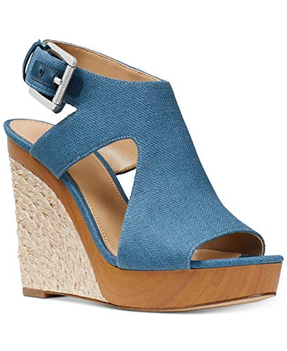 Kors Michael Toe Sandals Open (Michael Kors Womens Josephine Wedge Leather Open Toe, Dk Chambray, Size 6.0)