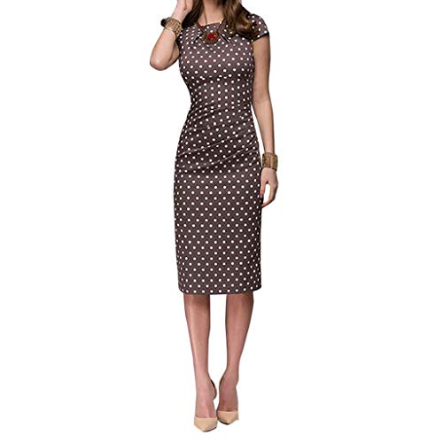 Women Elegant Wave Point Sashes Knee-Length Casual Dress Short Sleeve Round Neck Slim (2XL, Brown)
