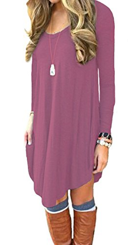 DEARCASE Women's Loose V-Neck Long Sleeve Stretch Solid A-Line Tunic Dresses Mauve L