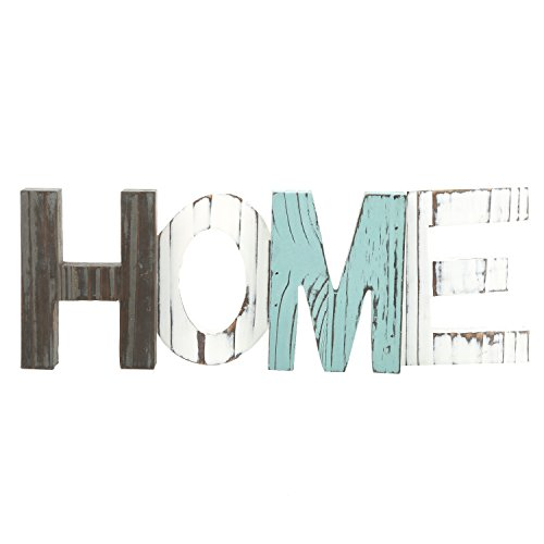 MyGift Rustic Wood Home Decorative Sign, Standing Cutout Word Decor, Multicolor ()