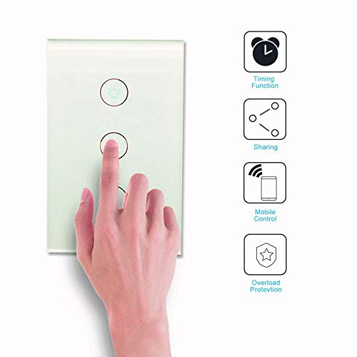 Alexa Smart Light Switch - Wifi Wall Switch, Remote Control Light Switches for Google Home Assistant Amazon Alexa and IFTTT, No Hub Required, Voice Control (3 Switches on 1 Gang)