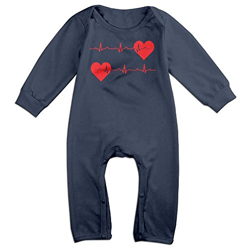 Beat It Dance Costume (Infant Baby's Nurse Heartbeat EKG Long Sleeve Climb Romper 6 M Navy)