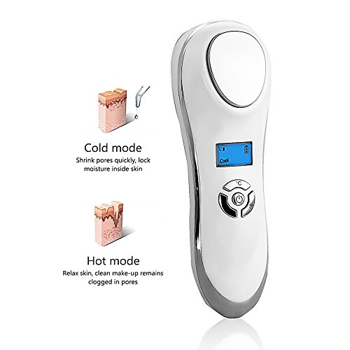 Hot and Cool facial Massager Eye Massager, Portable Handheld Sonic Electric Rechargeable Ion Facial Massager Hot Cold Machine Skin Care Device for Anti-wrinkle Tightening by MYSWEETY ()