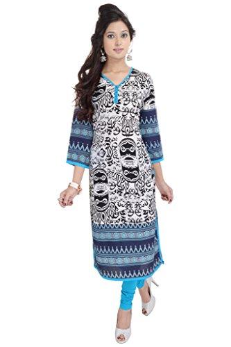 Impex-Rayon Vihaan Kurti etnica stile Casual, colore: blu