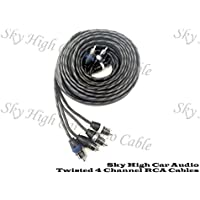 Sky High Car Audio 4 Channel Twisted 12 ft RCA Cables Coated 18 OFC