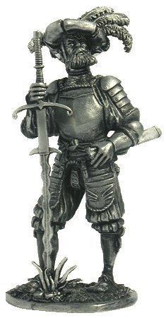 Landsknecht with a sword (16th century) Tin Toy Soldiers Metal Sculpture Miniature Figure Collection 54mm (scale 1/32) (16th Century Swords)